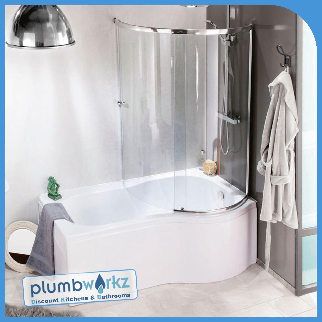 P Shaped Bath 1500mm-1700mm Bath Full Enclosure Screen & Bath Panel ...