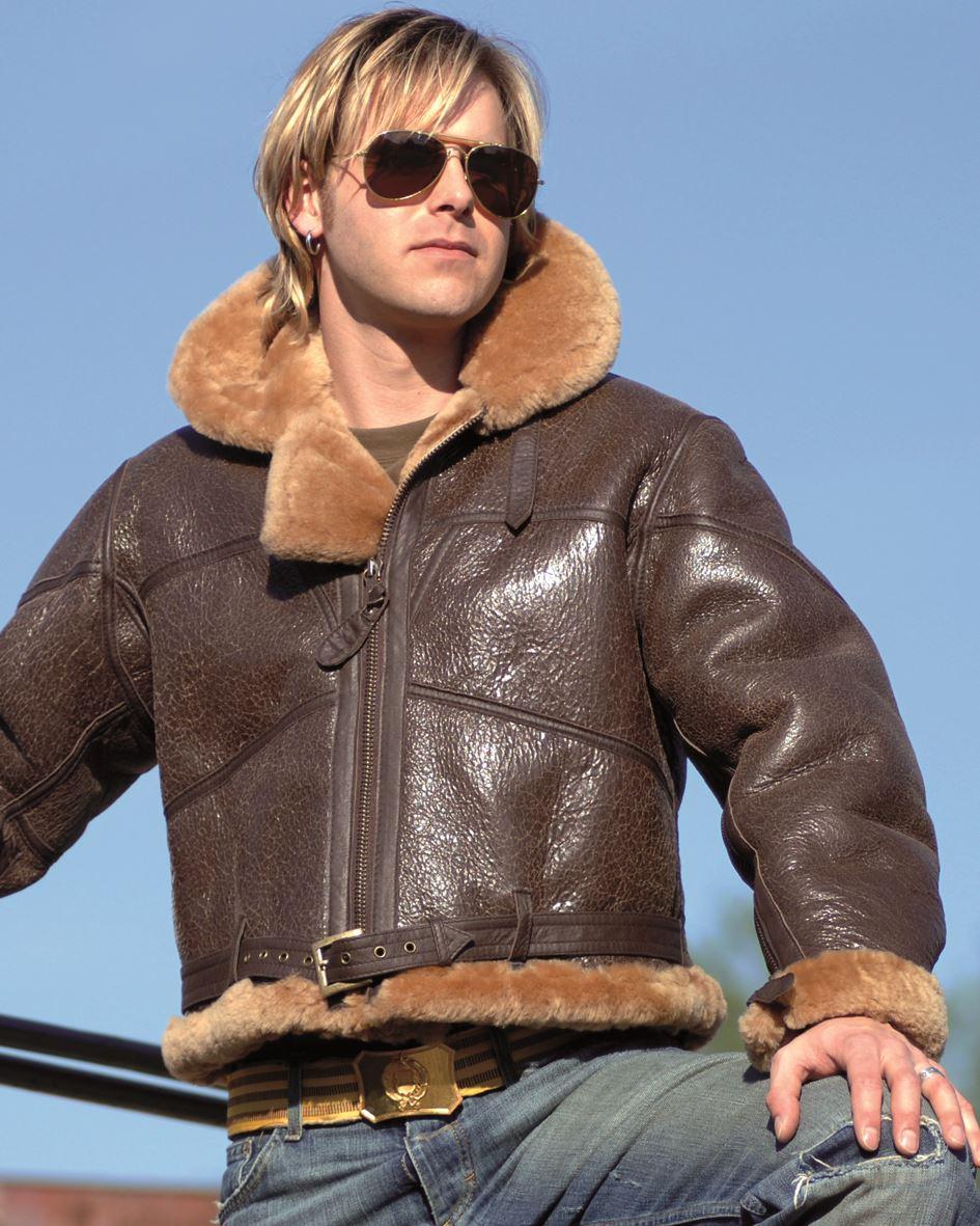 Mil Tec British Raf Sheepskin Leather Flight Jacket Mens Airforce