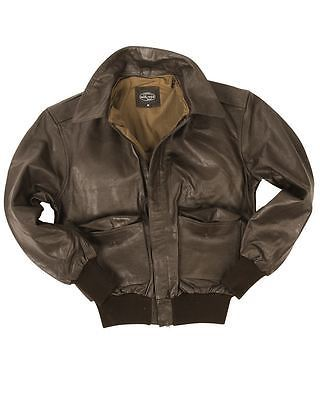 ae58a5e4162 MIL-TEC A2 LEATHER FLIGHT JACKET CLASSIC MILITARY ARMY MENS BOMBER BRAND NEW