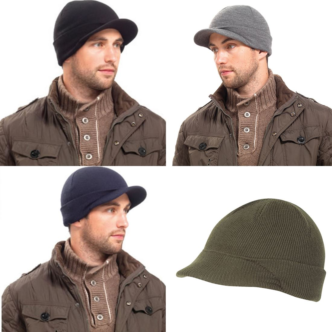 WINTER WARM MENS JEEP HAT US MILITARY PEAKED WATCH CAP ARMY CADET ... d7e84204e44