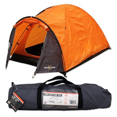 MILESTONE CAMPING TWO PERSON TENT POP UP SUPER DOME TENT PERSON SEWN-IN GROUNDSHEET 95e5a3
