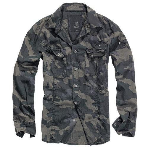 Brandit-Calce-Ajustado-Mangas-largas-Camisa-Informal-al-aire-libre