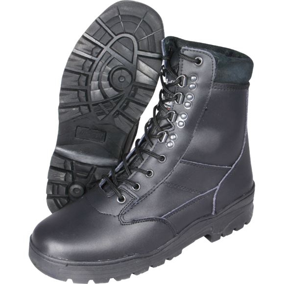 MIL-COM BOOTS ALL LEATHER ARMY BOOTS BLACK COMBAT LACE UP THINSULATE WARM