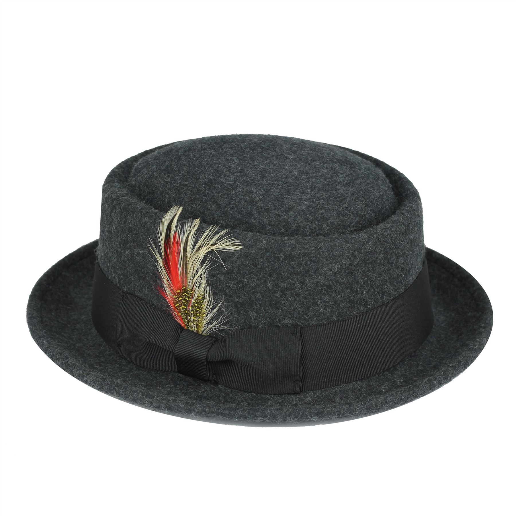 Mens Women Vintage Crushable 100% Wool Pork Pie Breaking Bad Heisenberg  Felt Hat 944217834ca5