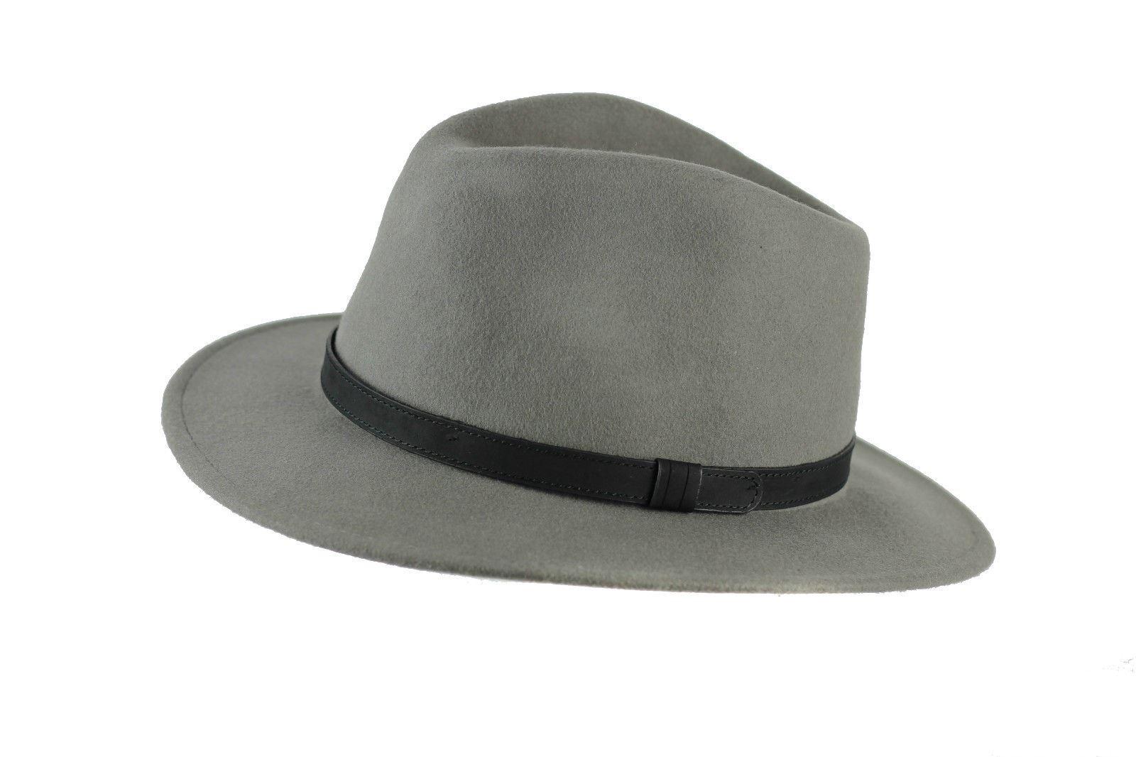 Unisex Mens Women Vintage 100% Felt Wool Wide Brim Crushable Fedora ... d7aae0409d3