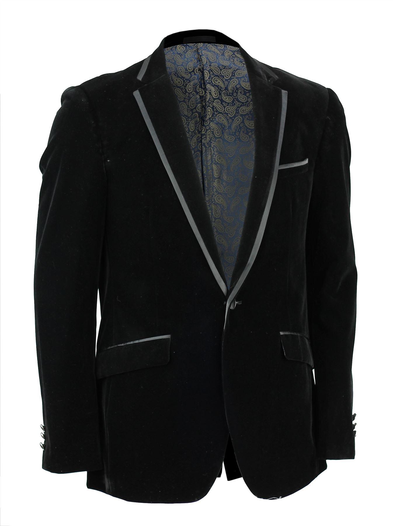 Mens Black Soft Velvet Blazer Trim Collar Pockets 1 Button