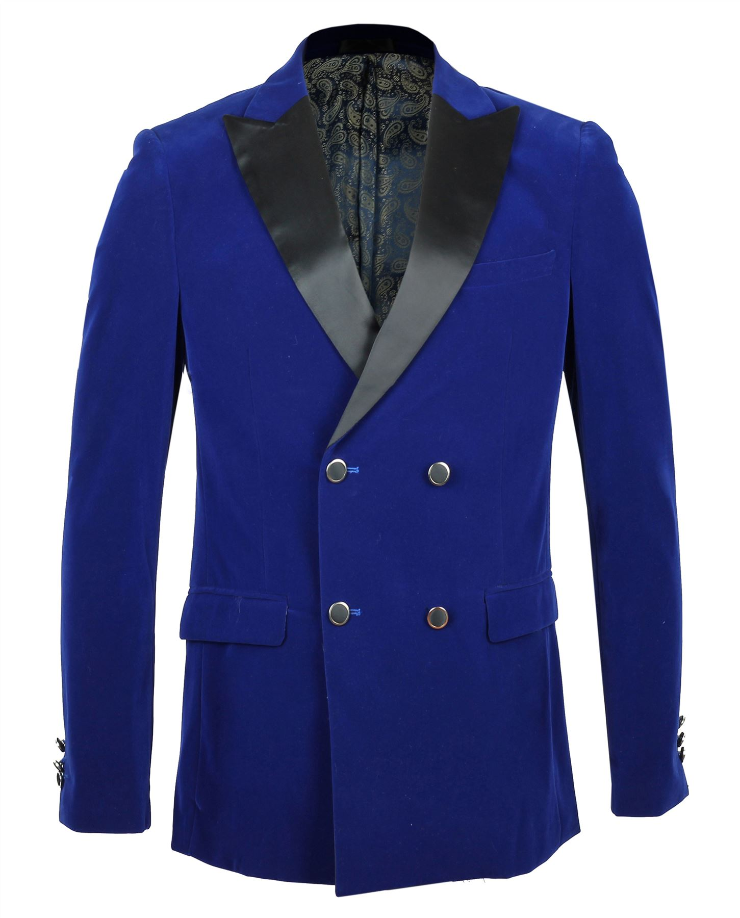 Mens Royal Blue Soft Velvet Double Breasted Blazer Black ...