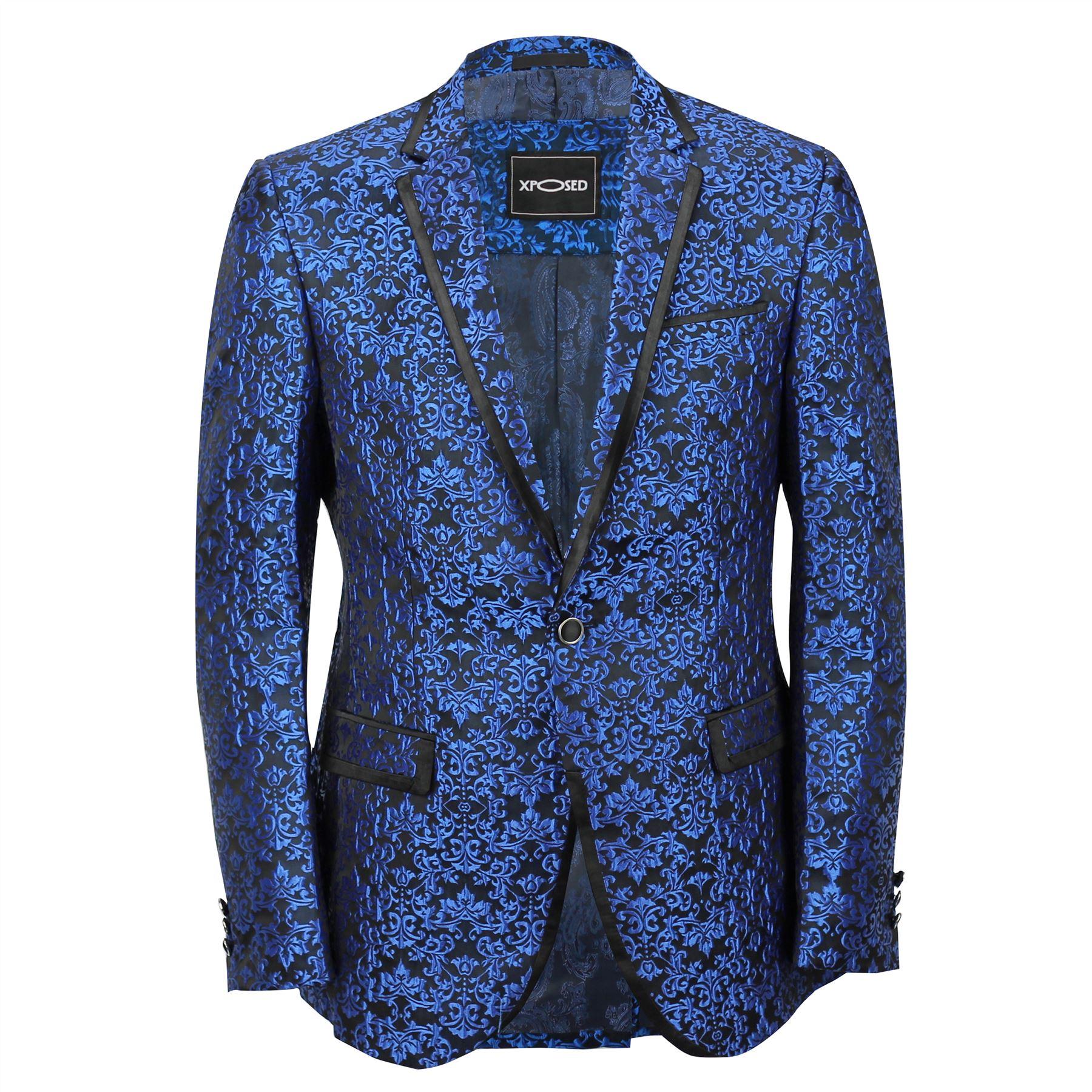 4951a6c96834 Mens Blue Paisley Print Italian Designer Style Suit Jacket Slim ...