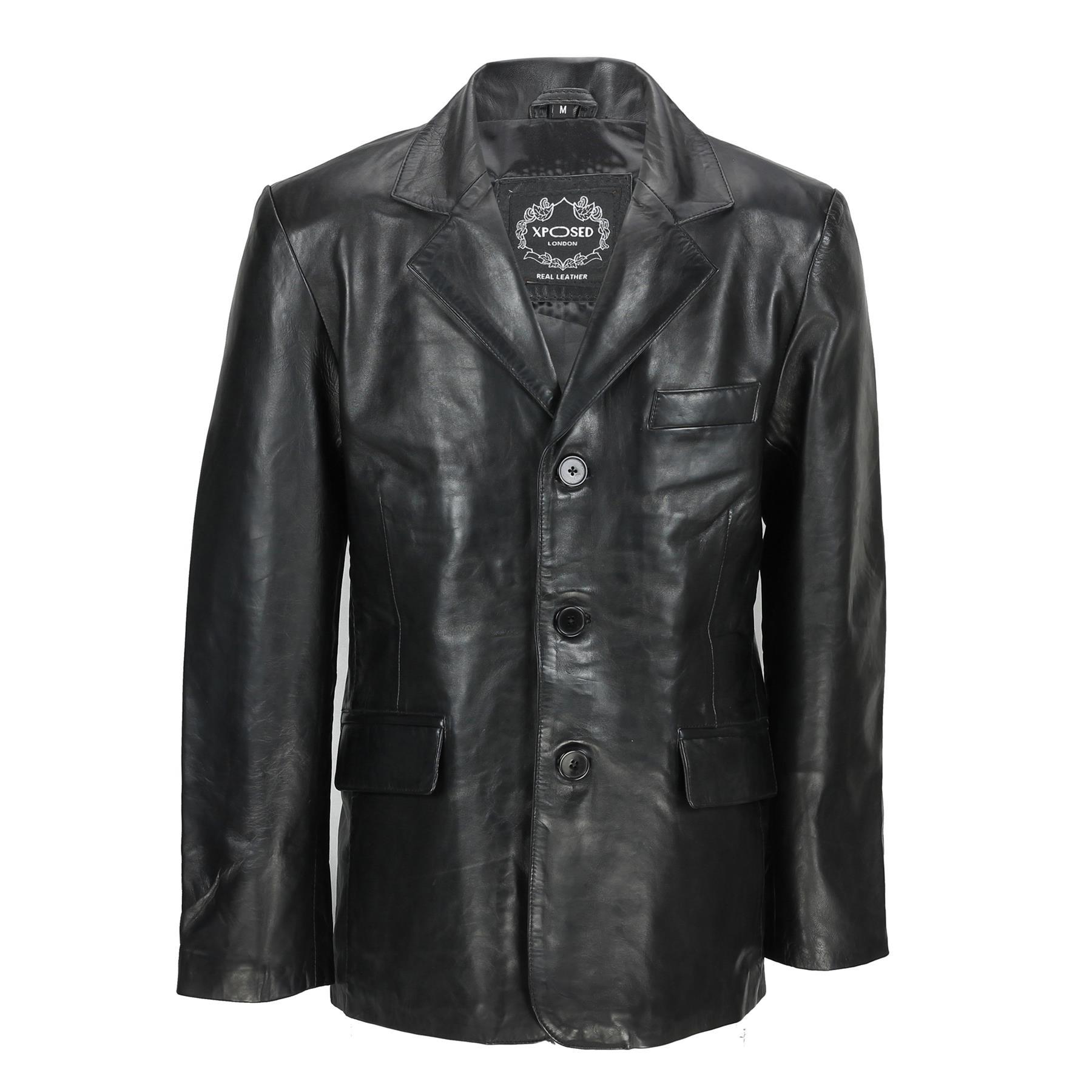 Homme Noir /& Tan Vrai Doux Mouton Cuir Blazer mi-longue Vintage Veste Manteau