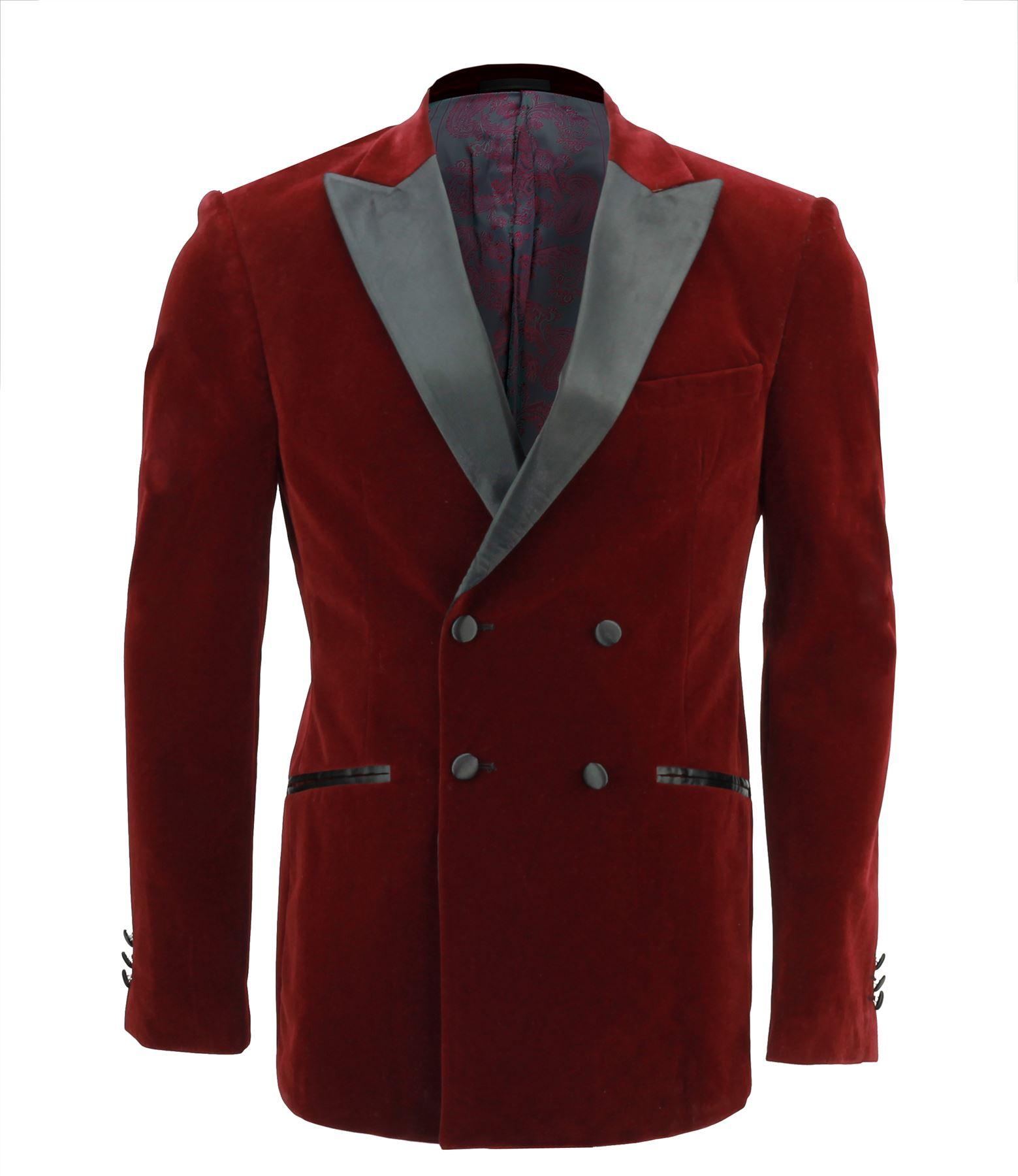 Blazers For Rent: Mens Maroon Soft Velvet Double Breasted Blazer Satin Lapel