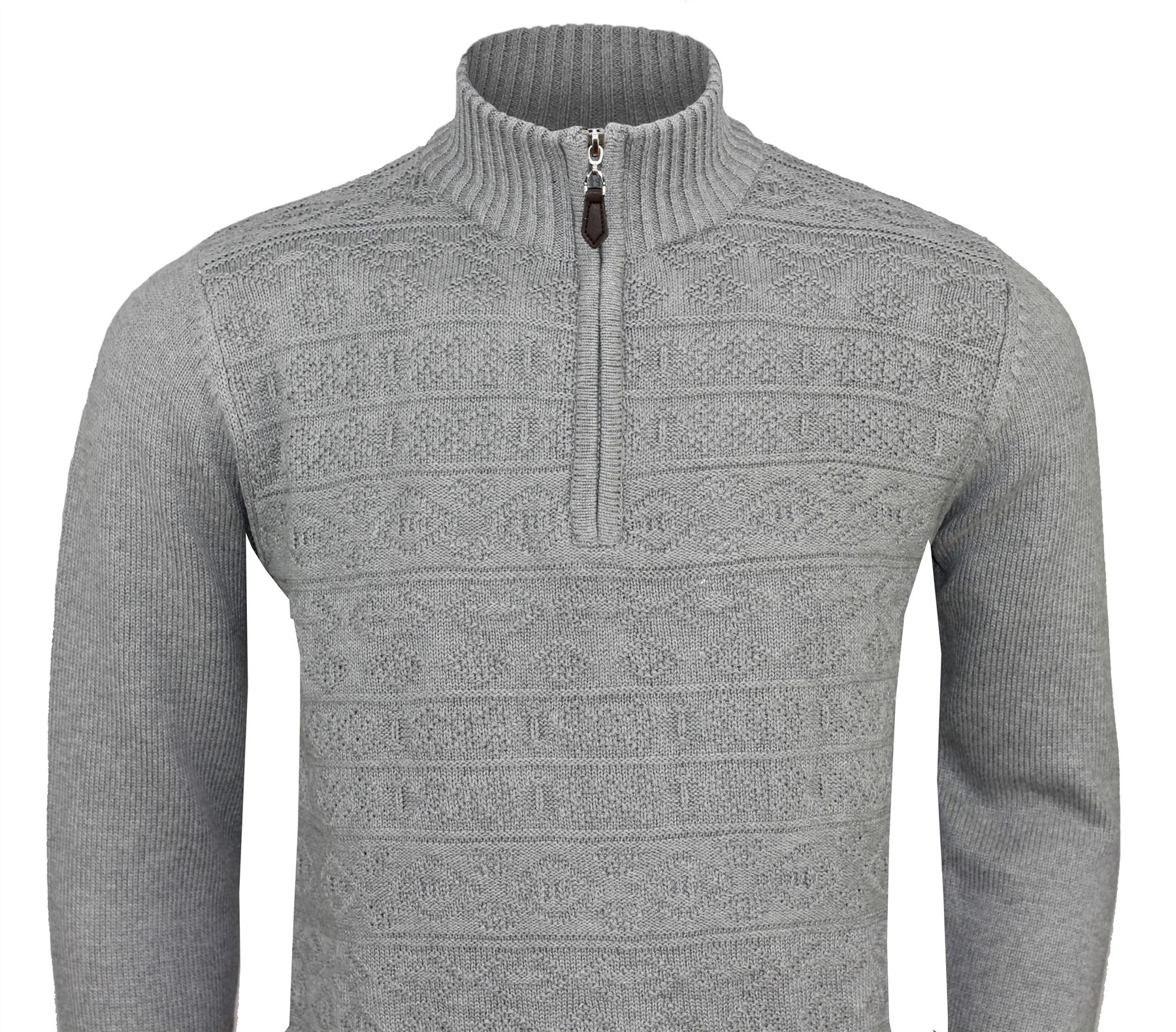 a6c8c74aa610ef Mens Funnel Neck Half Zip Neck Patterned Jumper Long Sleeve Knitted Sweater
