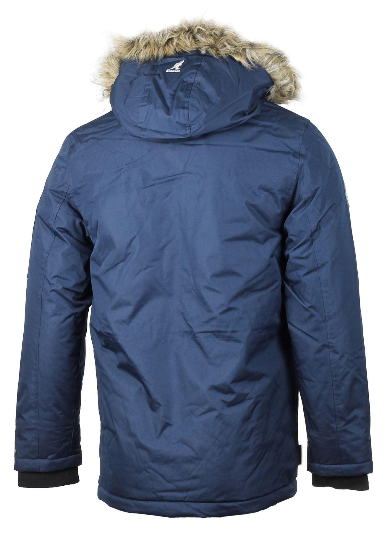 Mens Kangol Winter Heavy Duty Padded Parka Jacket Faux Fur Hood ...