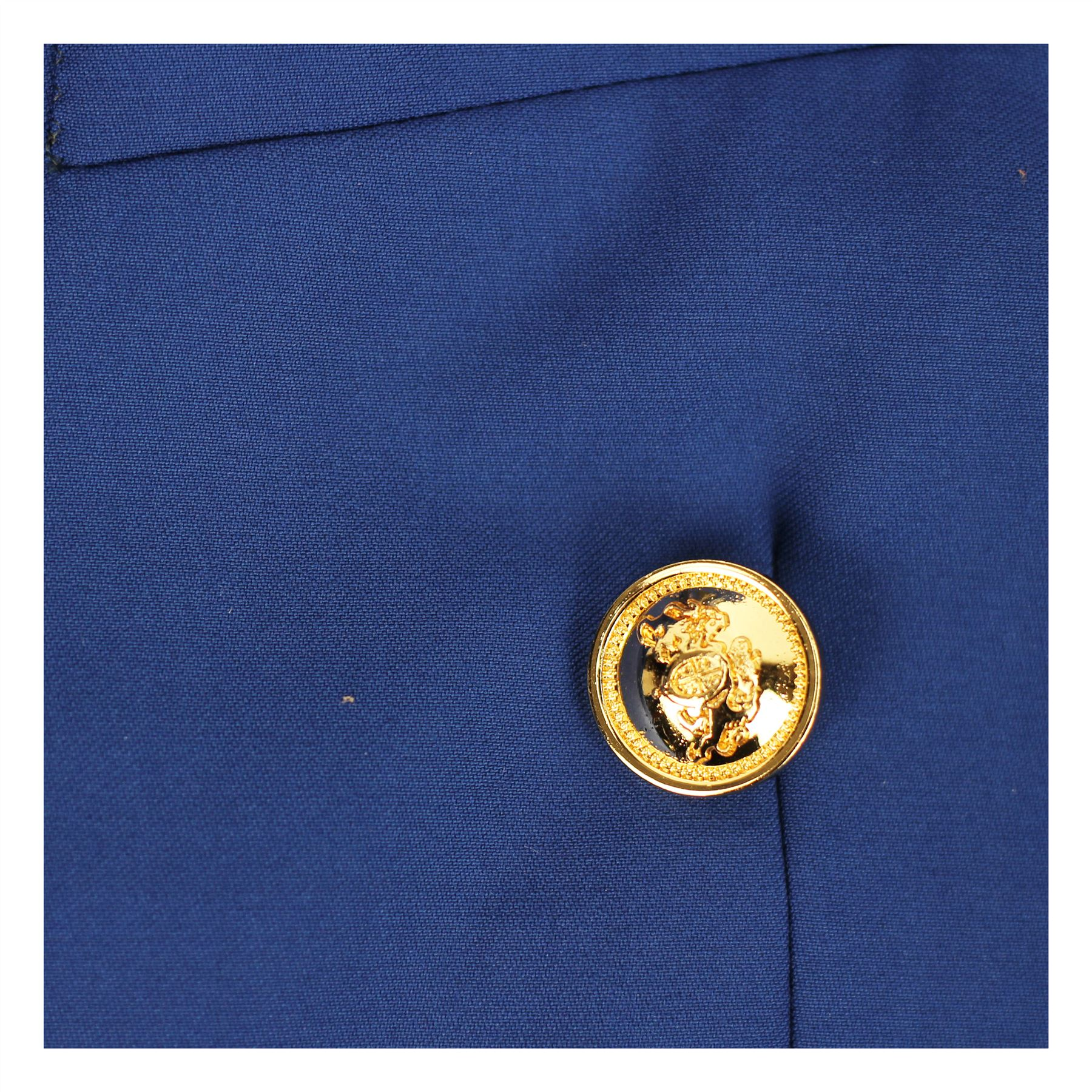 Homme-Classique-monte-Boutonnage-Double-Bleu-Noir-Blazer-Veste-Vintage-Bouton-d-039-or