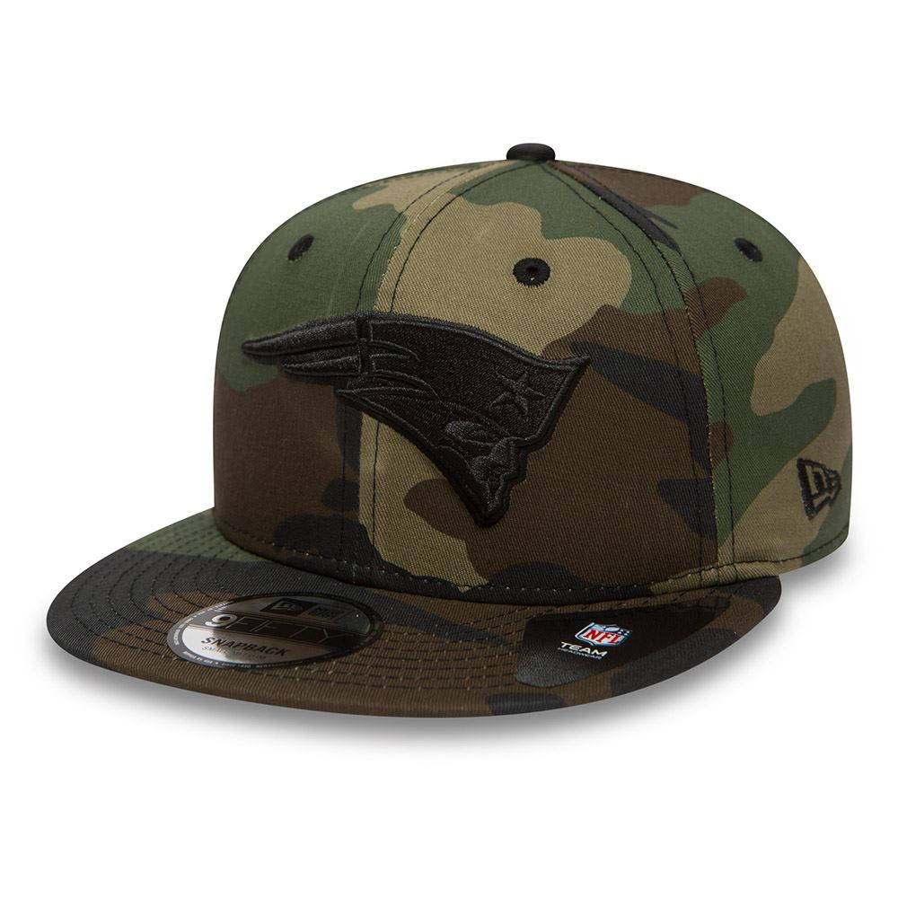 511ec948bb1 Allover camo effect on Cap. New England Patriots embroidered logo on front.  Embroidered New Era logo on side. Adjustable fastener.