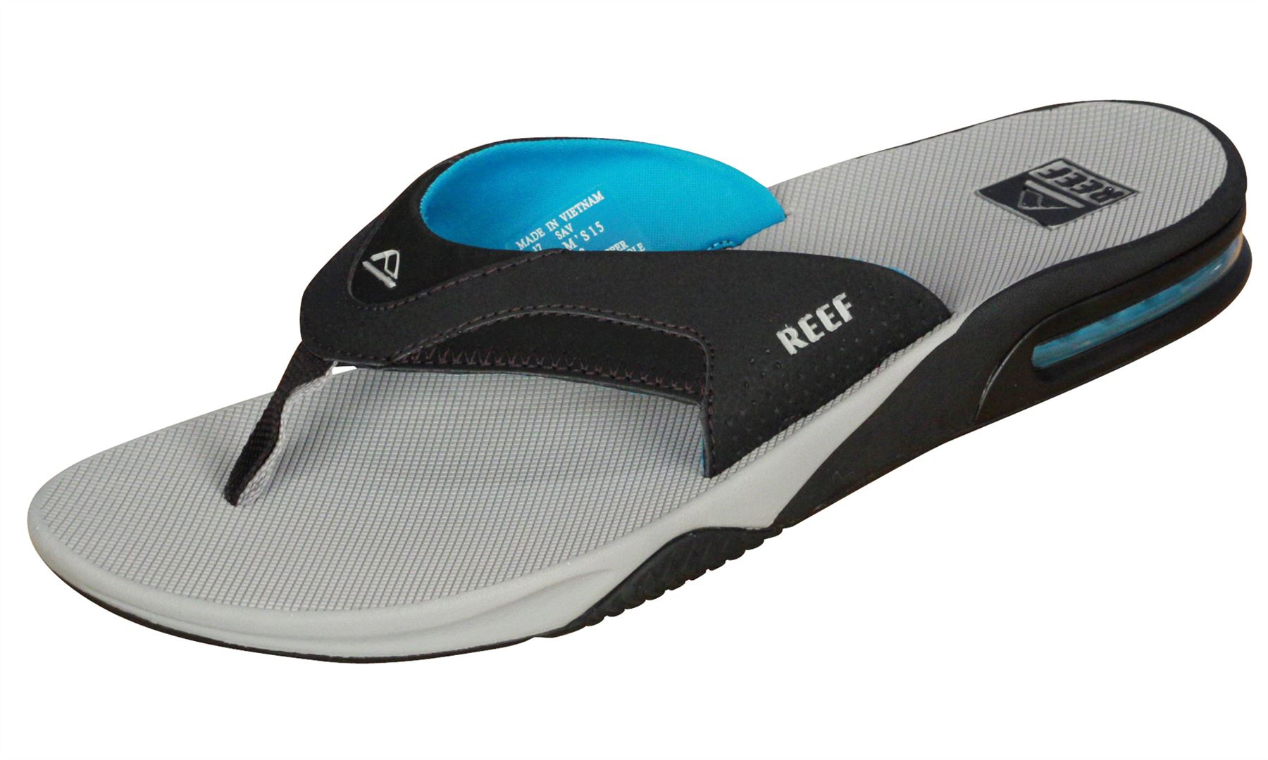 87e151c529747a Details about Reef Water Friendly Mens Sandals with Bottle Opener ~ Fanning  lt grey blue