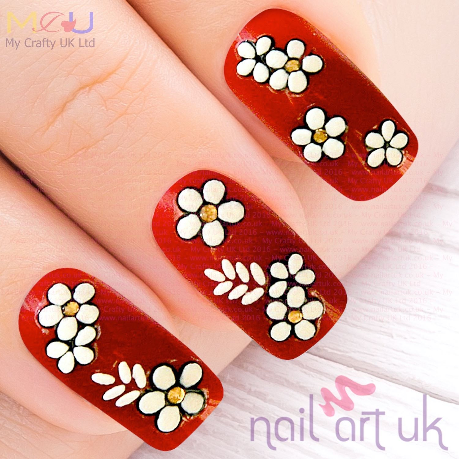 White Flower and Gold Rhinestone, WHite Leaf Nail Stickers, Decals ...