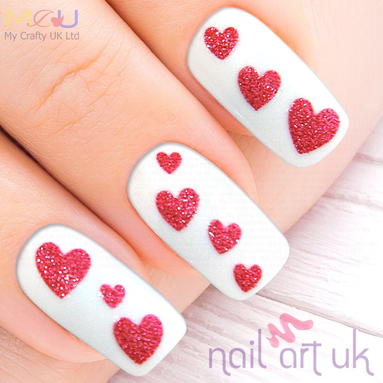 Glitter Fuschia Pink Heart Adhesive Nail Art Stickers Decorations ...