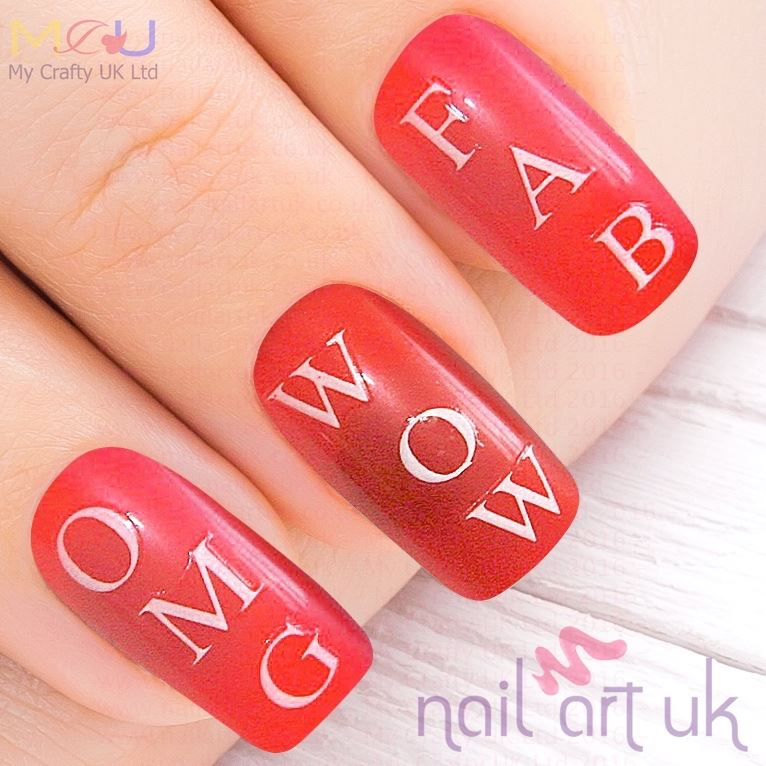 Personalised White Capital Letters Adhesive Decal Nail Art Stickers