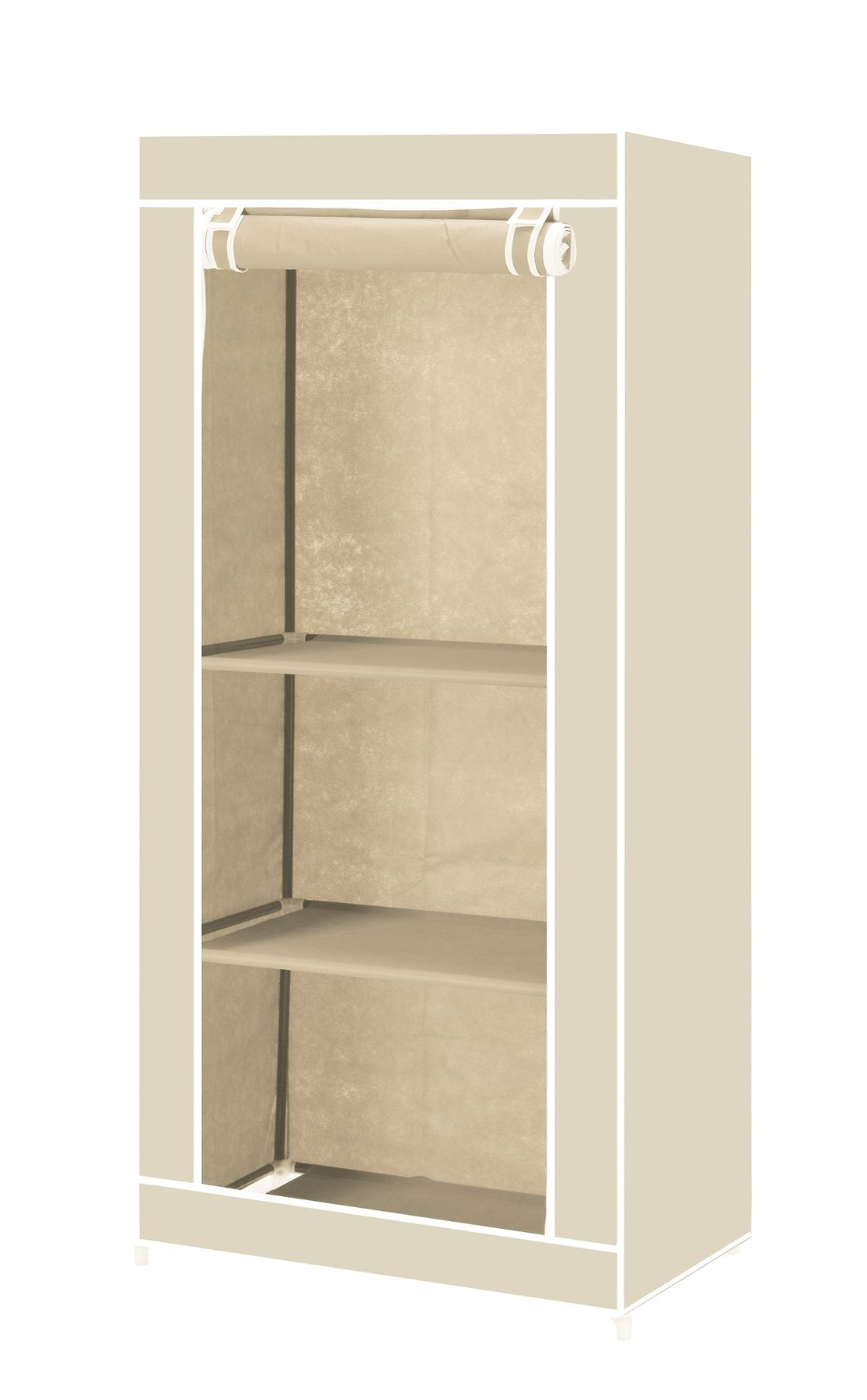 Vinsani Single Canvas Clothes Storage Organiser Wardrobe Cupboard