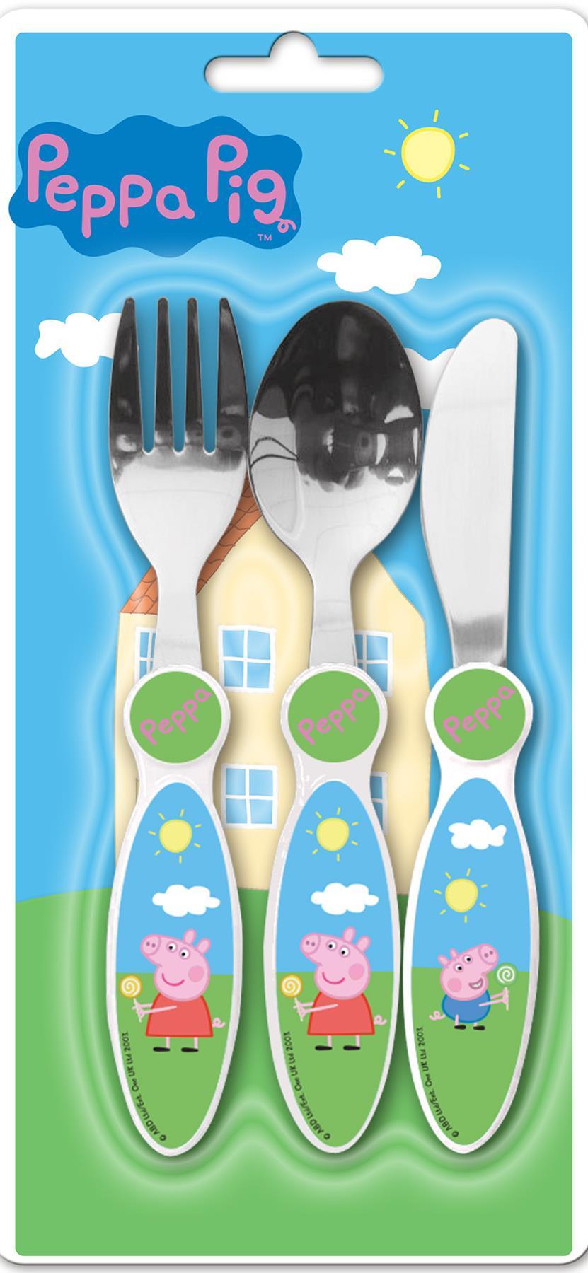 PEPPA PIG 4 Piece Cutlery Fork Spoon Box Set Tableware Pink Gift Toddler Baby UK