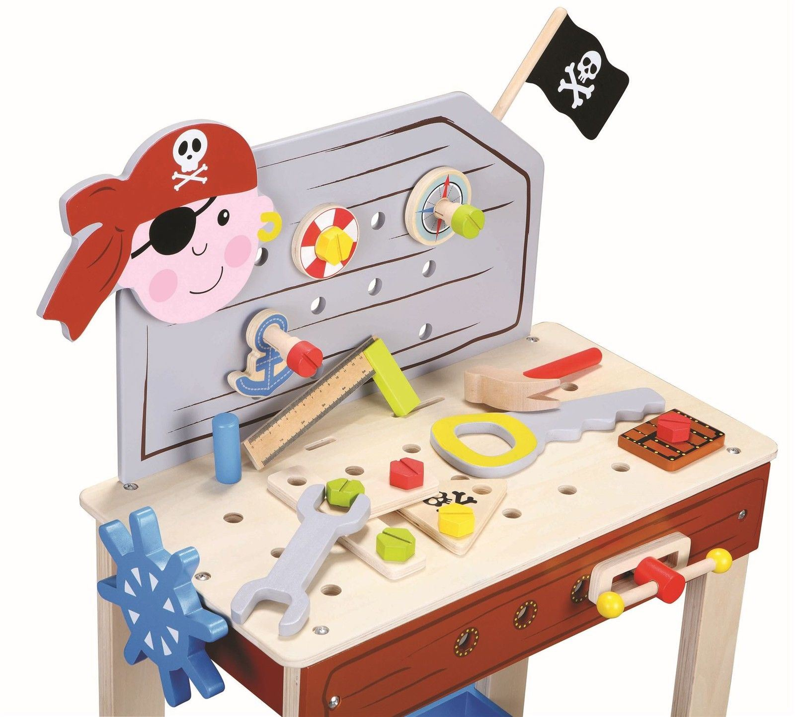 Lelin Wood Pirate Bench Tools Wooden Pretend Role Playing Toy Set Age 3 Years