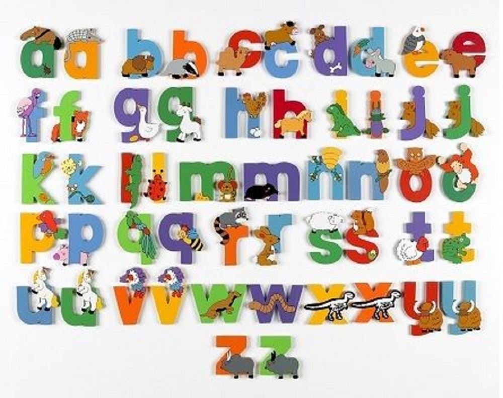 WOODEN Lower Case JUNGLE ANIMAL ALPHABET LETTERS PERSONALISED ...
