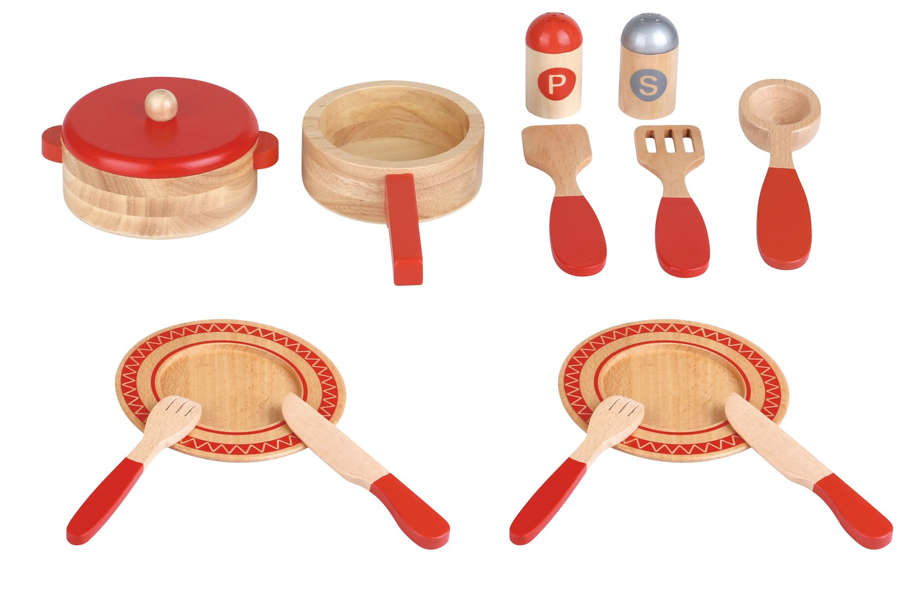 Lelin 14 PC Wooden Kitchen Red Cooking Set Pretend Role Play Set for ...
