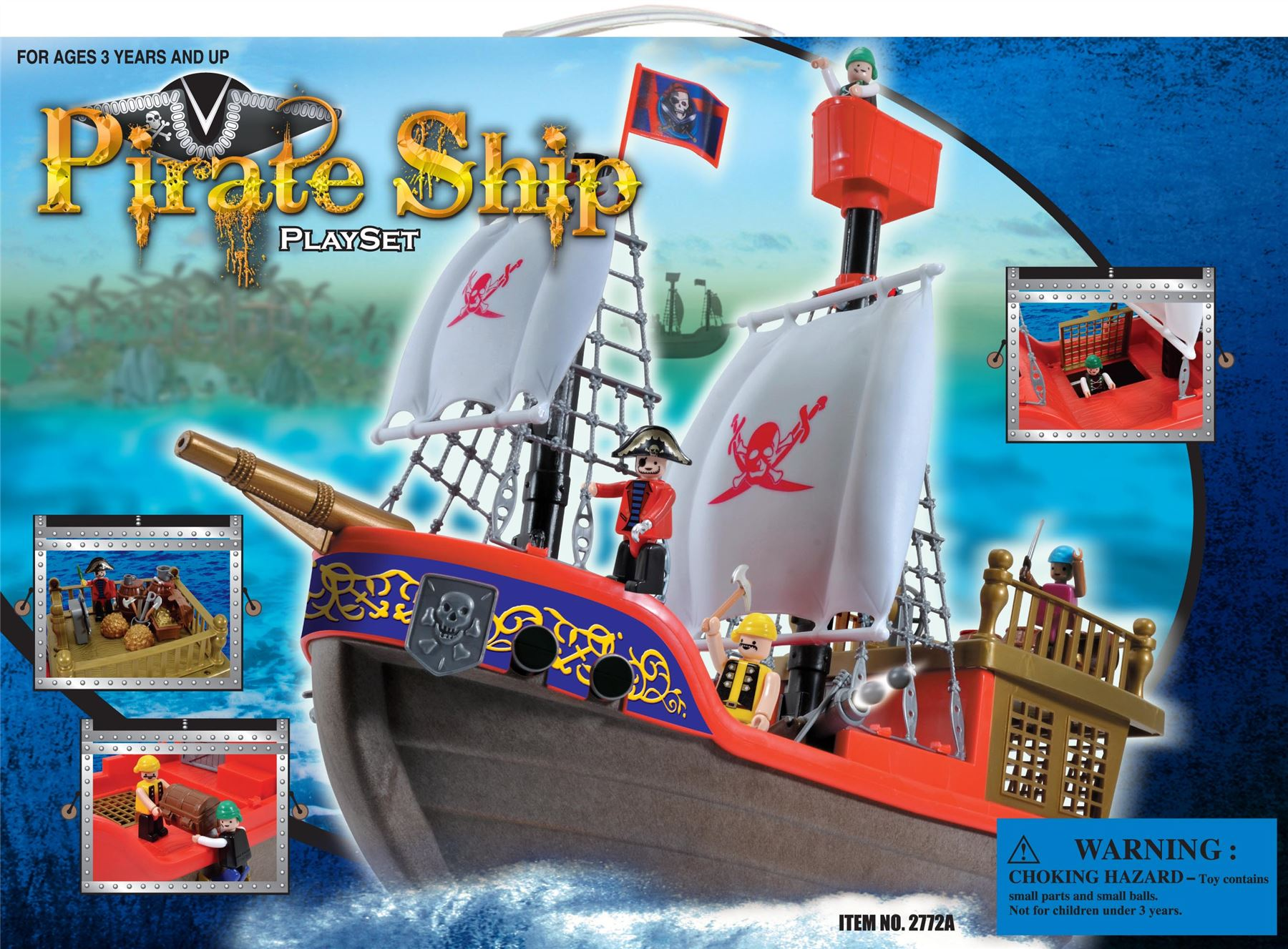 vinsani childrens playset kids pirate ship boat treasure island