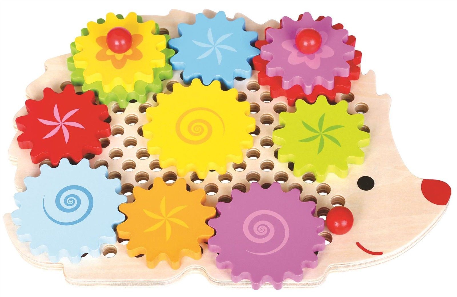 Details about Lelin Wooden Hedgehog Learning Spinning Gears and Cogs Childrens Toy Set