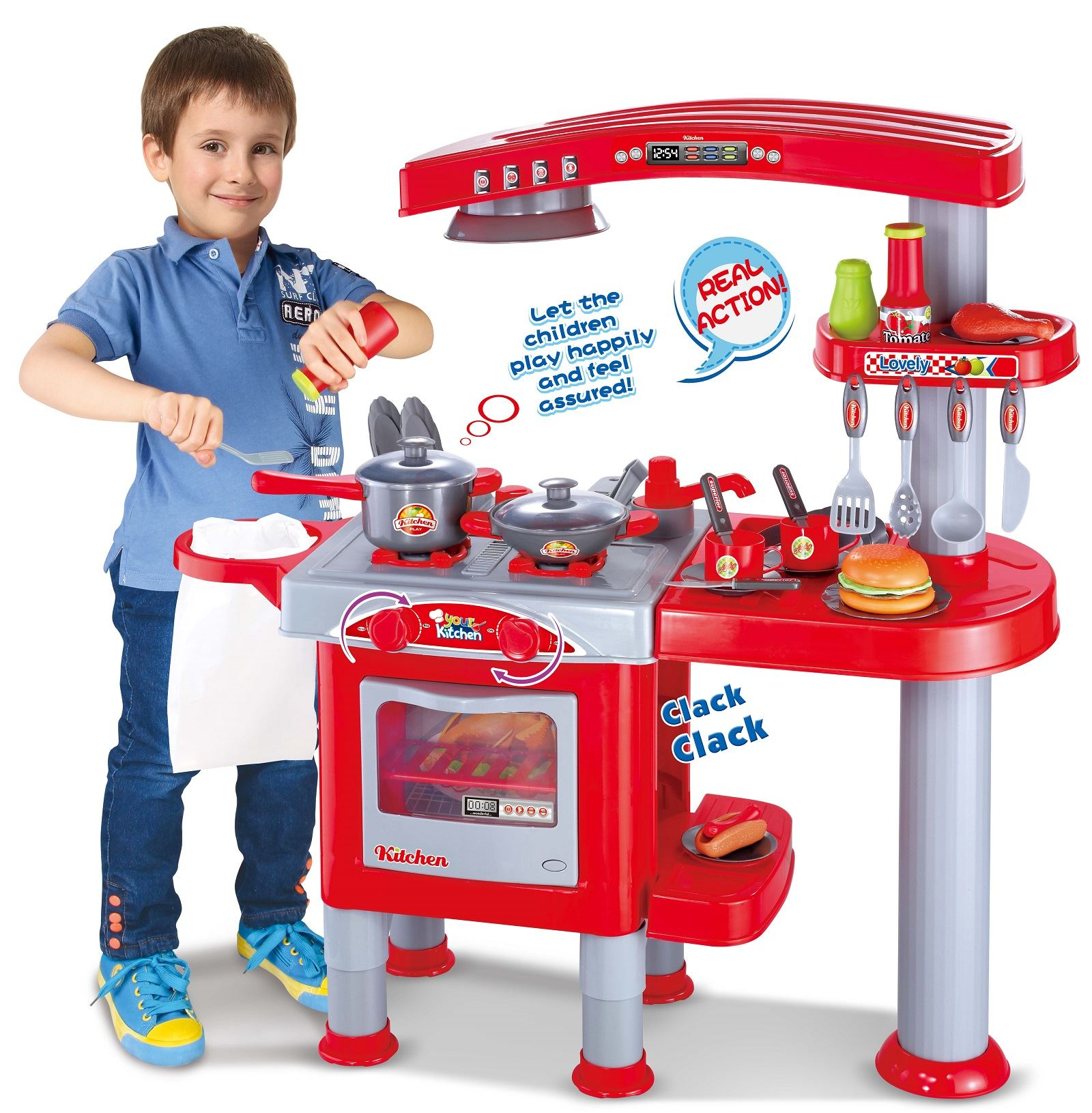 Vinsani Electronic Kids Deluxe Pretend Play Kitchen Cooking Toy ...