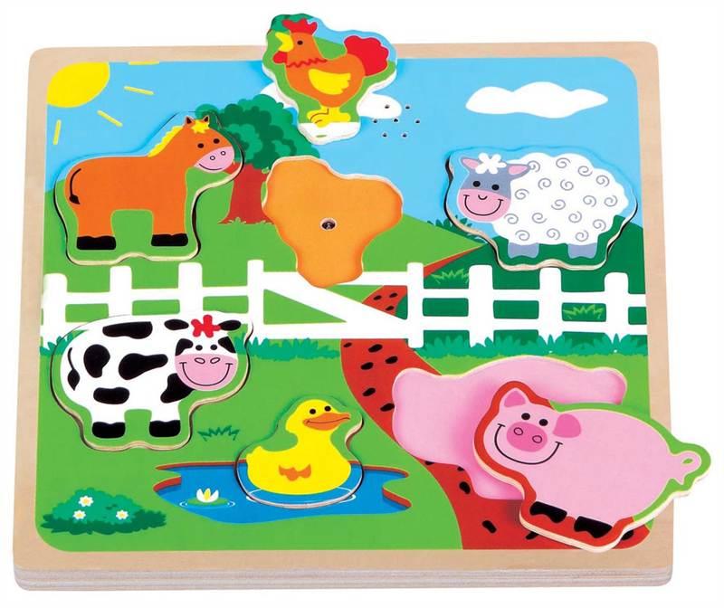 Lelin Children Kids Wood Wooden Farm Animal Pet Sound Jigsaw Puzzle