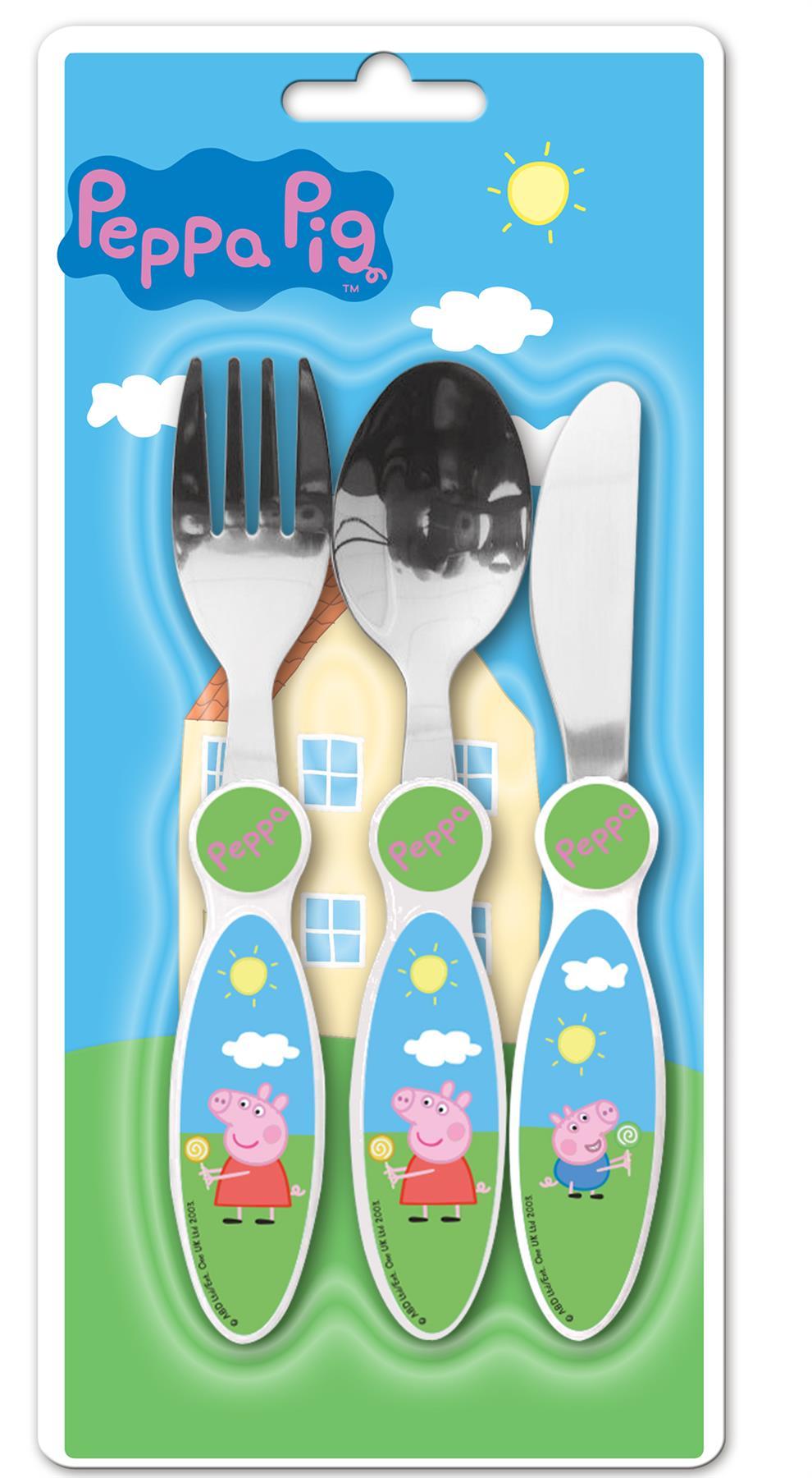 Peppa Pig 3 Pièce Métal Set De Couverts Pour Enfants-couteau, Fourchette Et Cuillère-afficher Le Titre D'origine