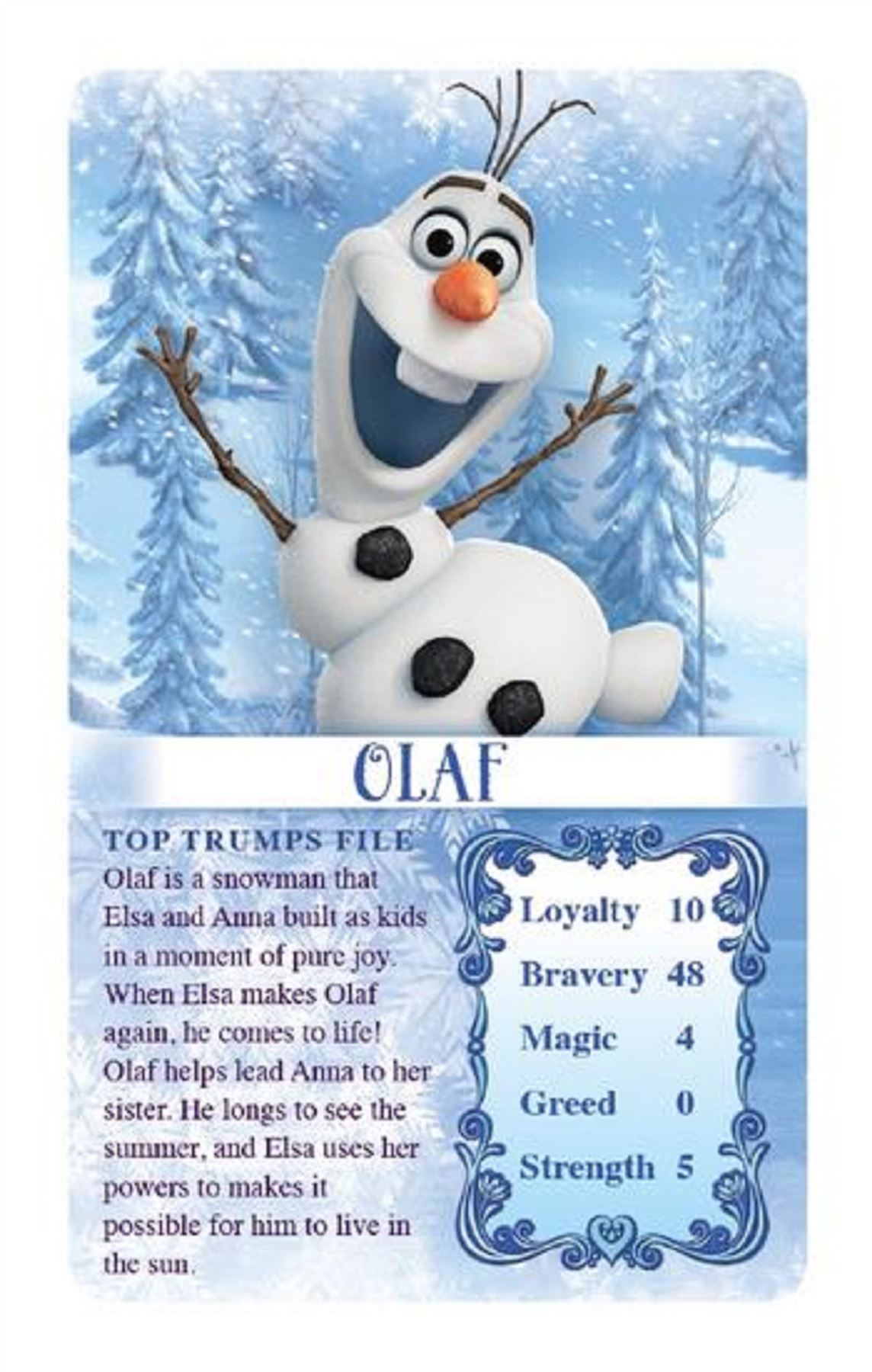 Disney Frozen Top Trump Trumps Playing Card Game Fun For