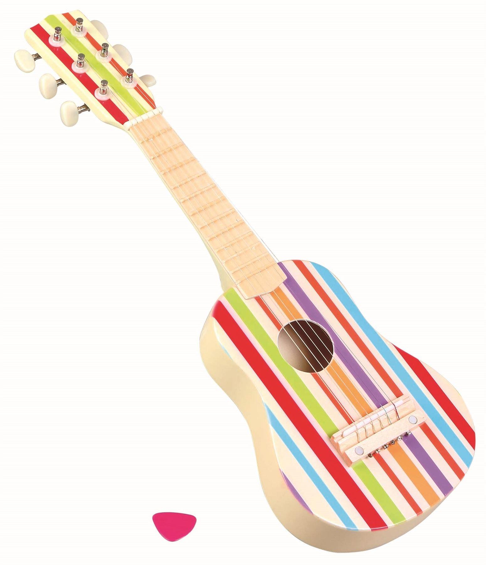 LELIN WOODEN STRIPE STRIPED BLUE PIRATE GUITAR CHILDRENS KIDS MUSICAL INSTRUMENT