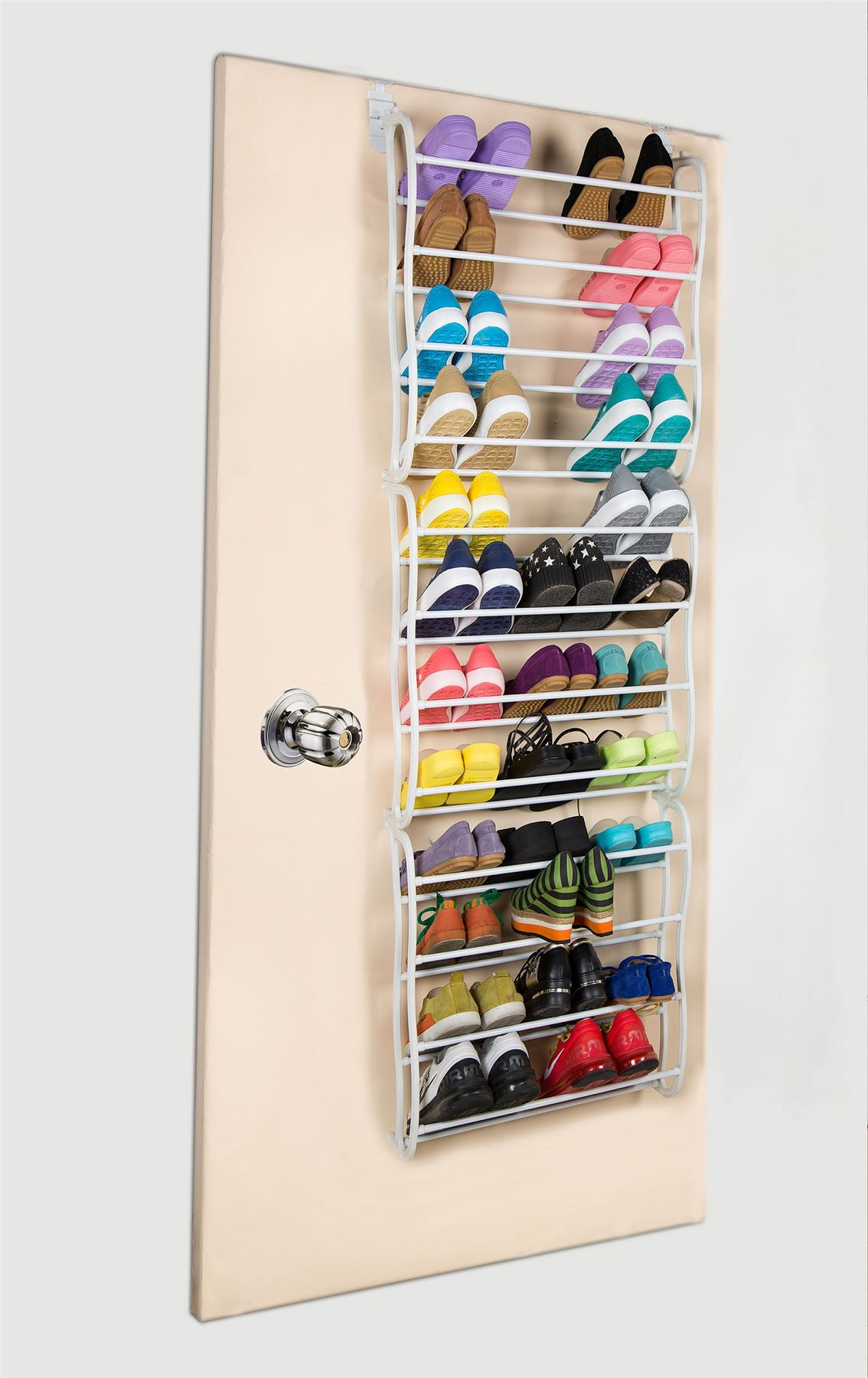 sentinel vinsani 12 tier over the door shoe rack hanging organiser 36 pair white - Over The Door Shoe Rack