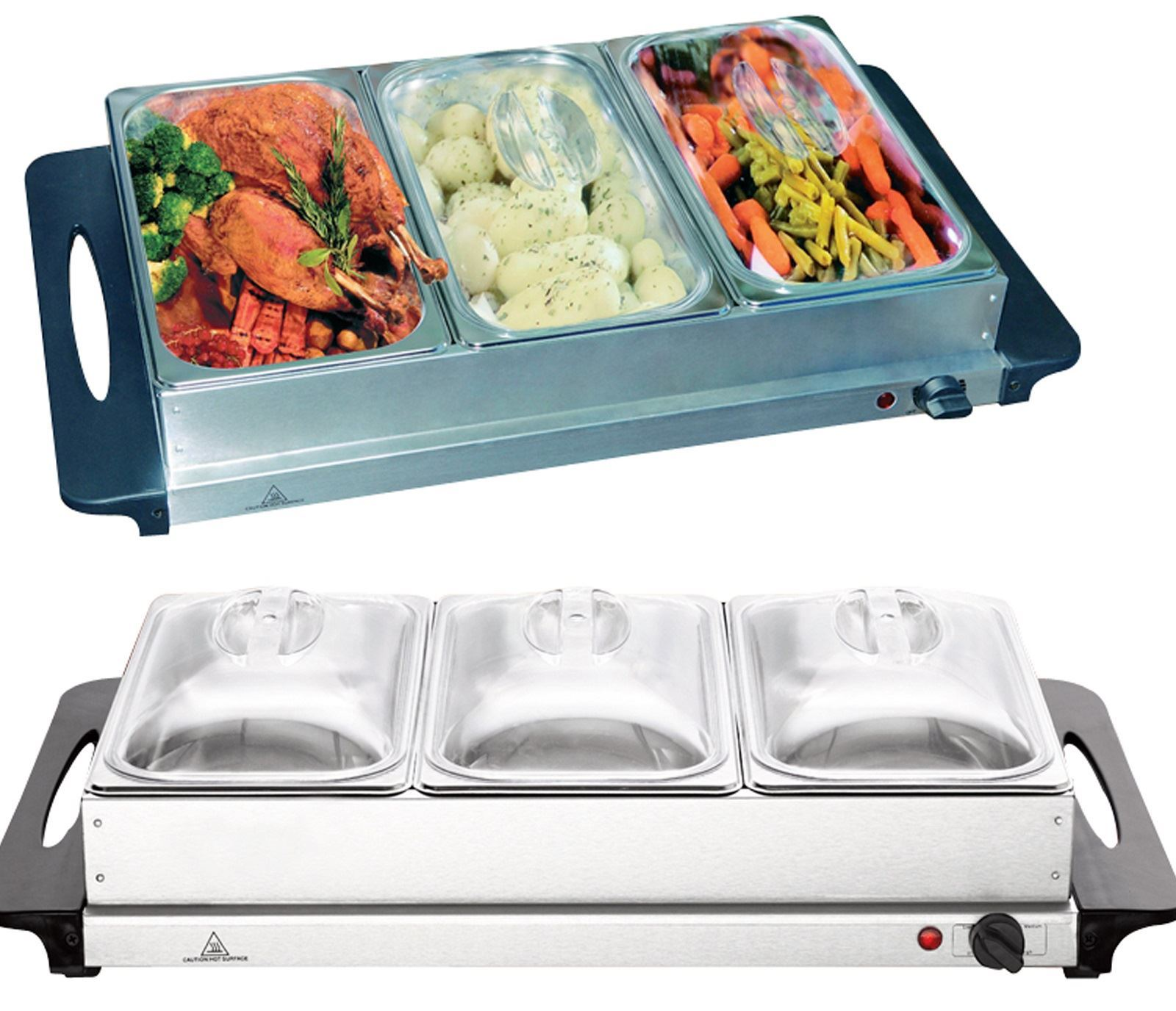 Vinsani Stainless Steel Electric 3 Pan Buffet Food Warmer Dinner ...