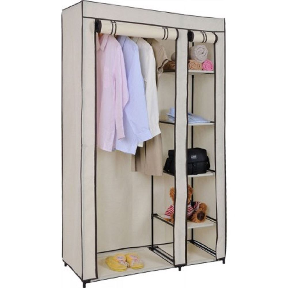 Vinsani Double Canvas Wardrobe Clothes Cupboard Hanging Rail