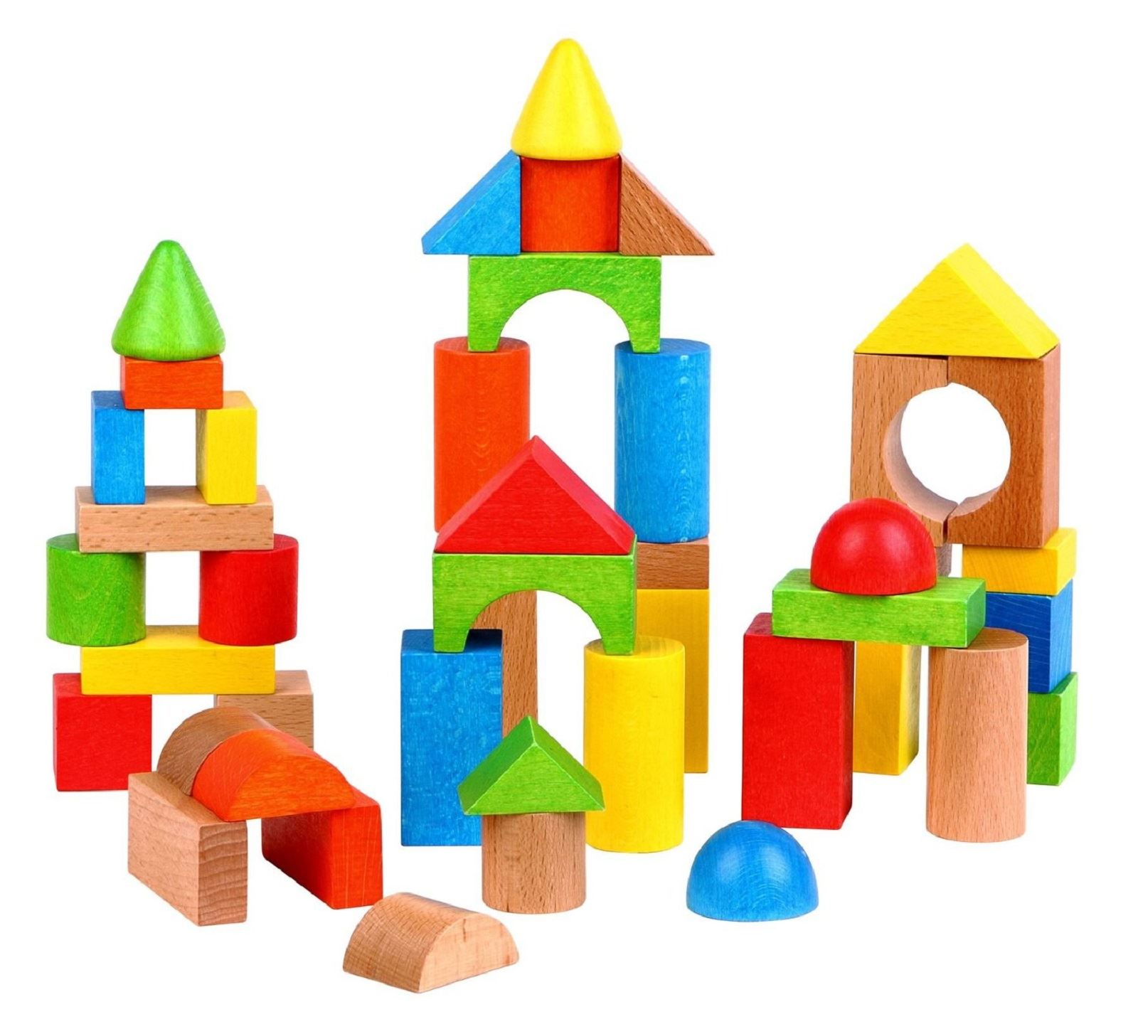 Wooden Blocks For Toddlers ~ Lelin blocks wooden building shape construction