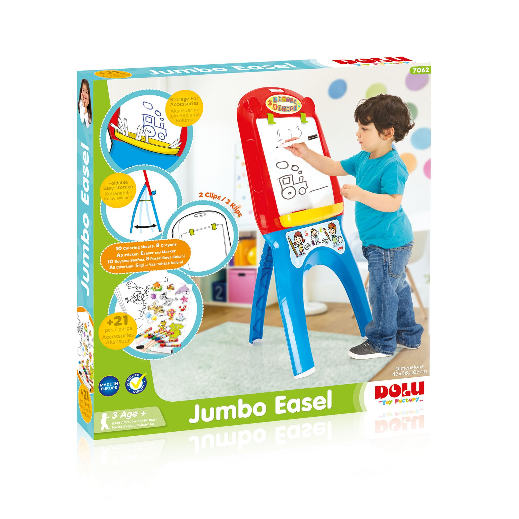 Dolu My First Foldable Jumbo Magnetic White Drawing Board