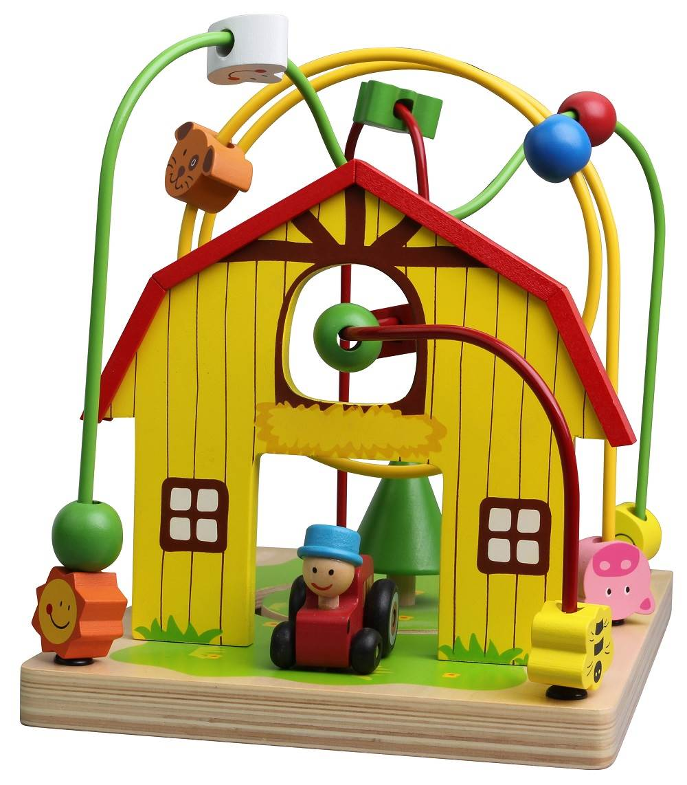 Lelin Wooden Childrens Wire Farm Animals Bead Frame Roller