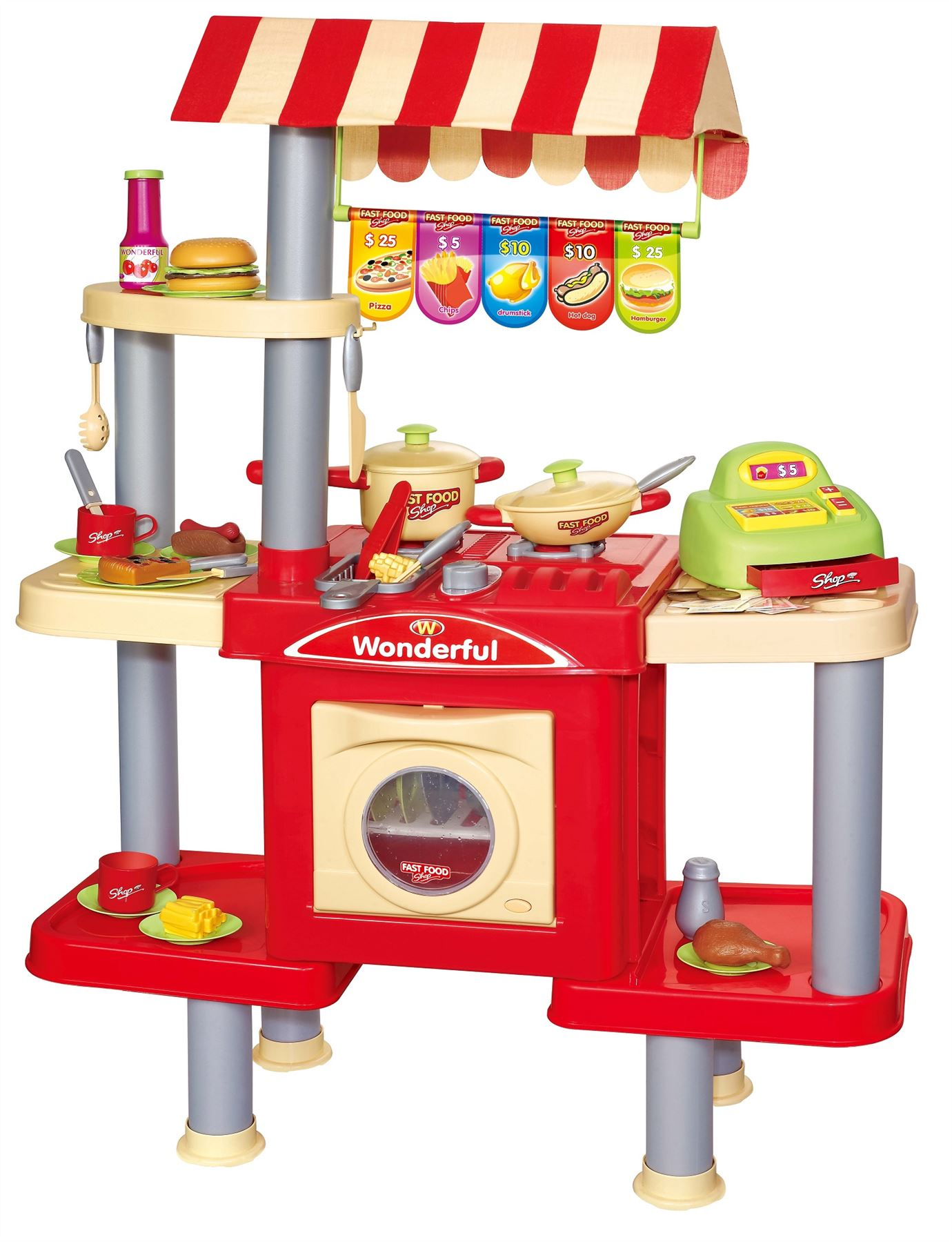 Vinsani Childrens Kids Pretend Play Fast Food Kitchen Stand Cooking Playset Toy Ebay