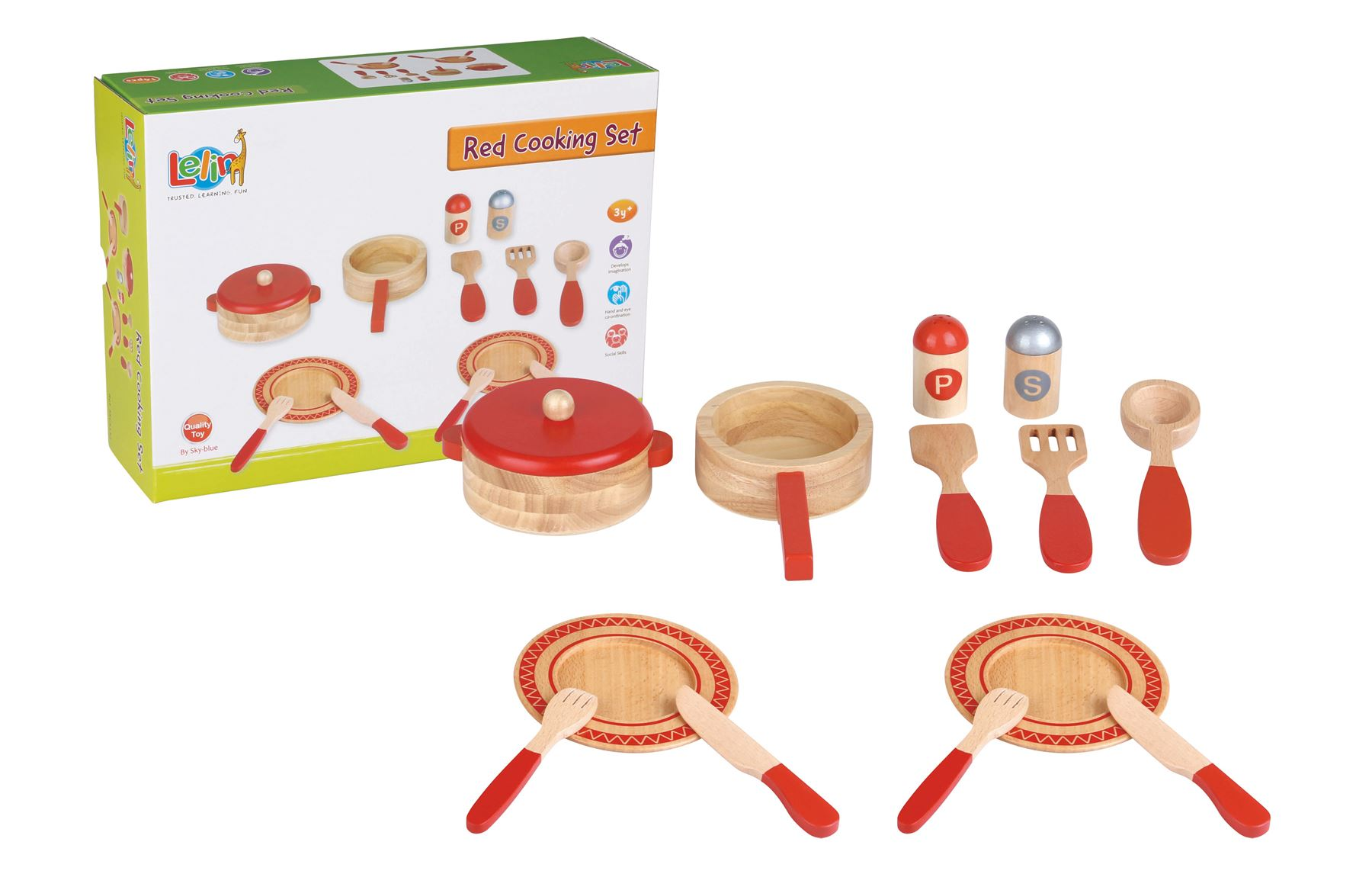 Lelin 14 Pc Wooden Kitchen Red Cooking Set Pretend Role