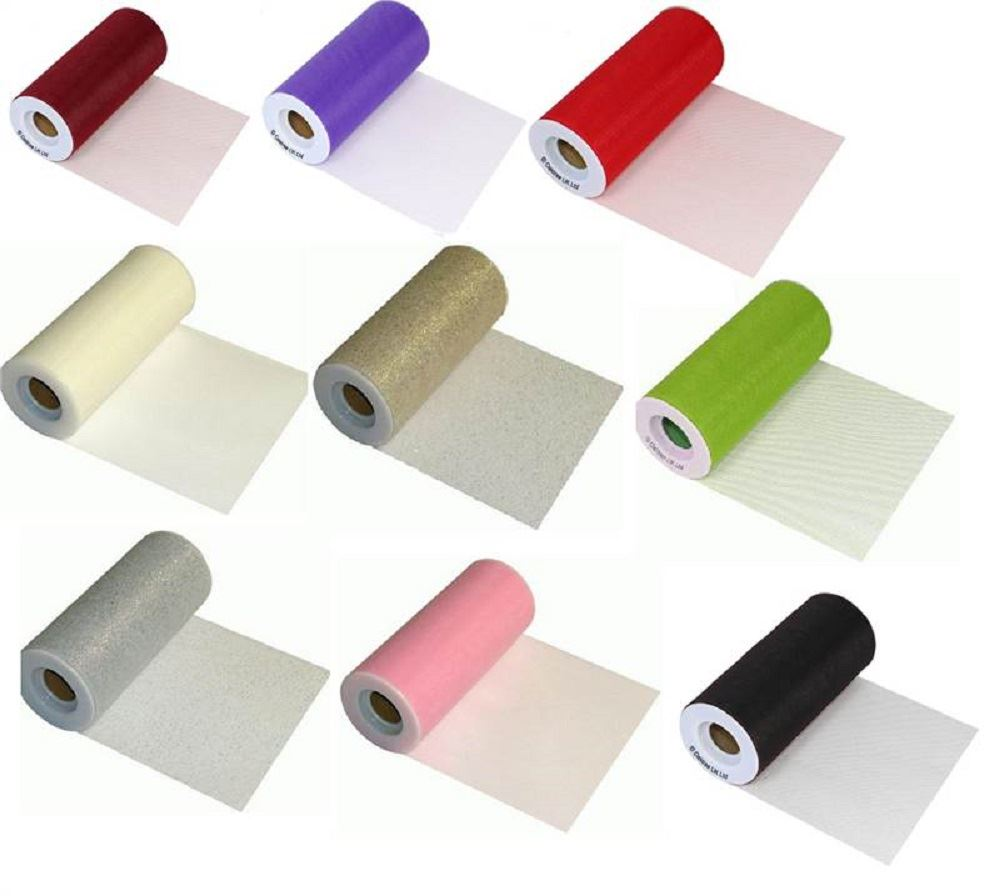 Tulle-Finesse-Fabric-Ribbon-Roll-For-Weddings-amp-Crafts-6Inch-X-25-Yards