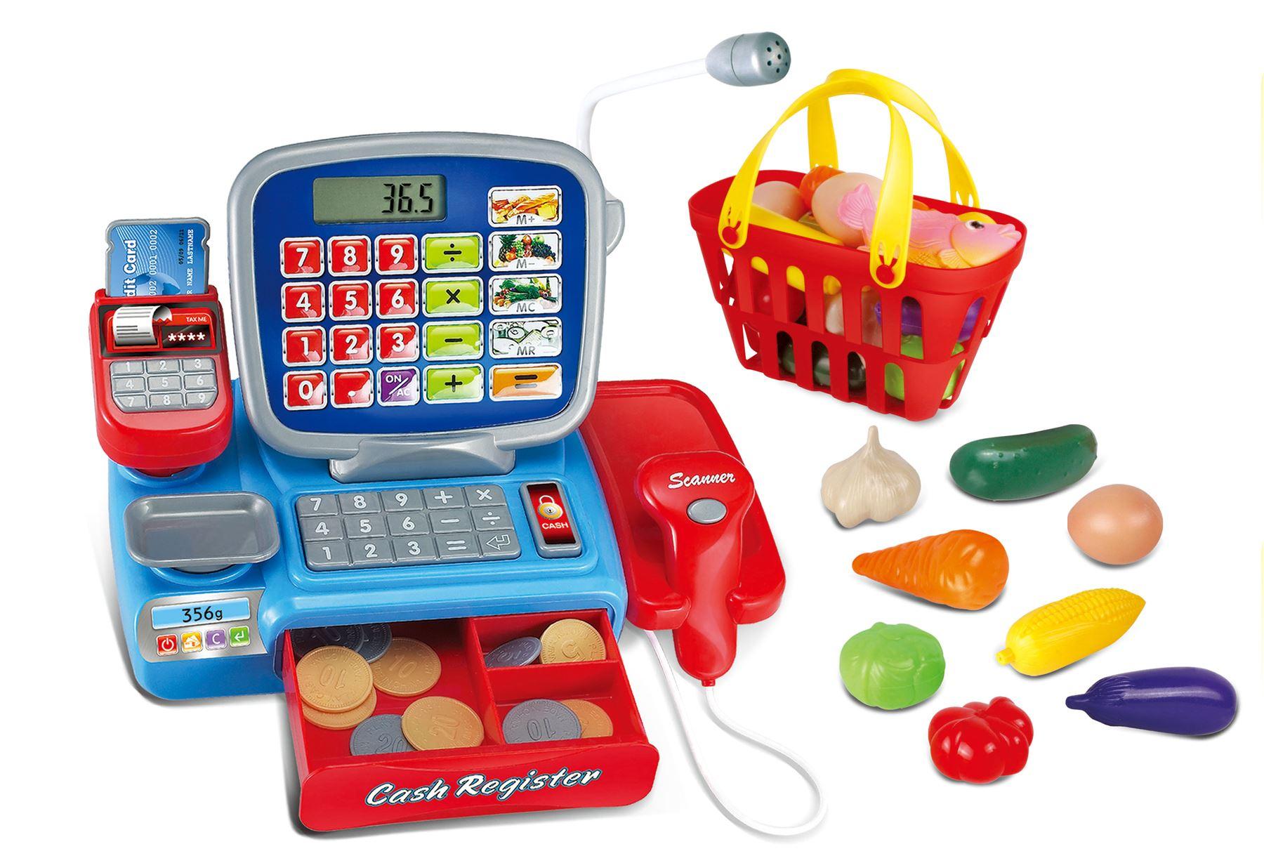 Deluxe Toy Cash Register : Vinsani kids shopping cart electronic cash register
