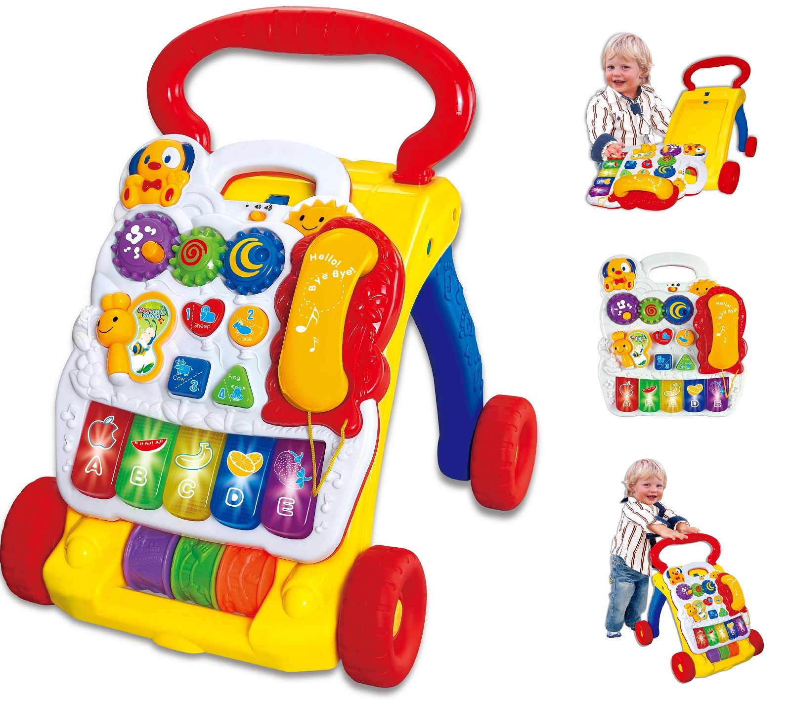 2 In 1 Childrens Baby Walker Musical Sounds Activity Push Along