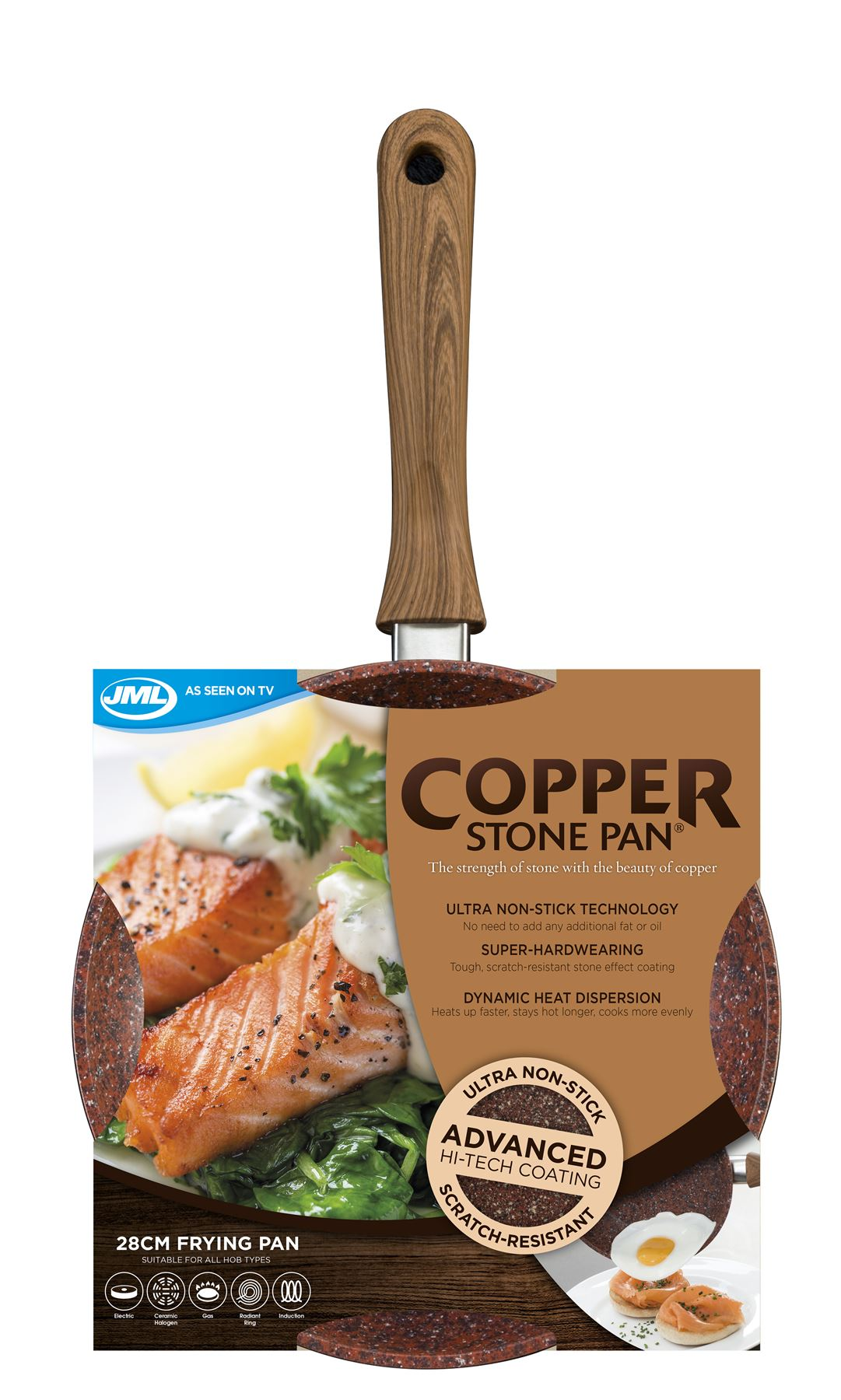 Jml Copper Stone Pans Non Stick Amp Hard Wearing With Wood