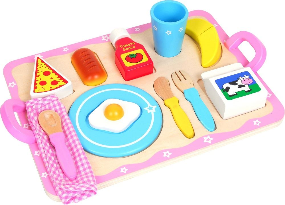 Lelin Wooden Wood Breakfast Cereal Food Tray Childrens
