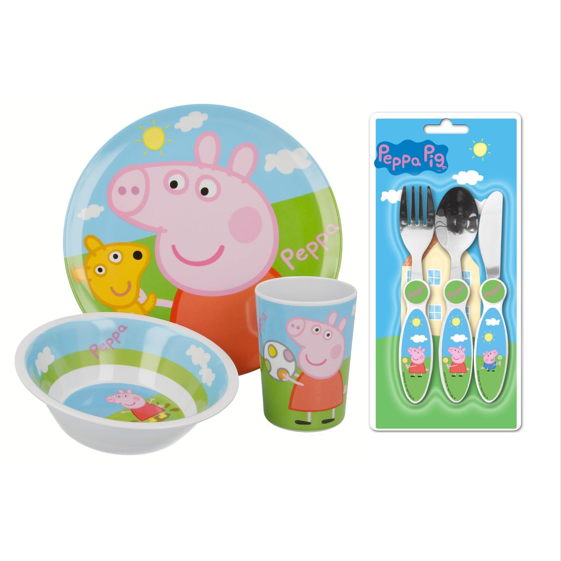 Peppa Pig Enfant Salle à Manger & Set De Couverts-assiette, Bol, Gobelet, Couteau, Fourchette & Cuillère-afficher Le Titre D'origine