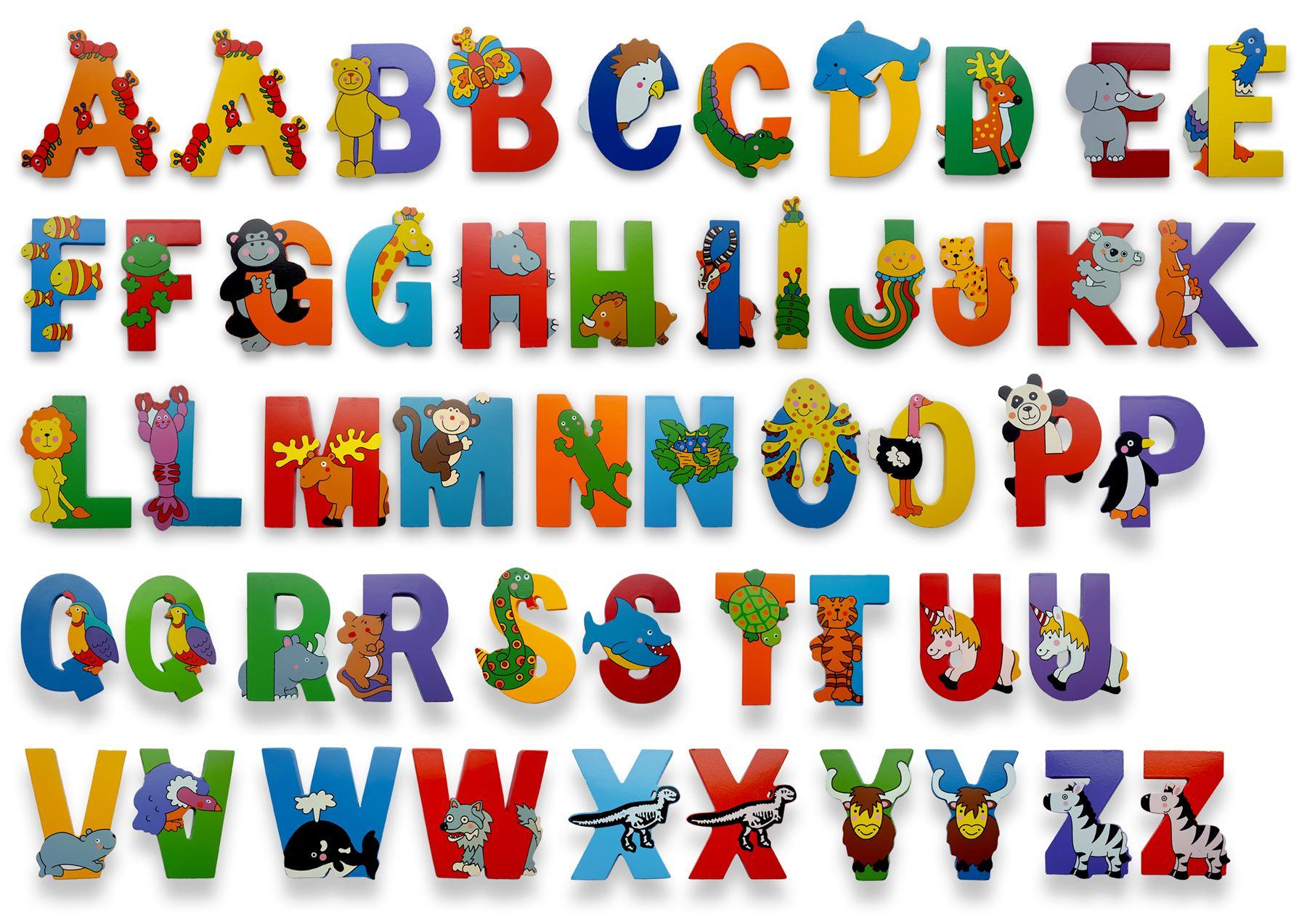 Vinsani Wooden Jungle Animal Upper Case Alphabet Letters