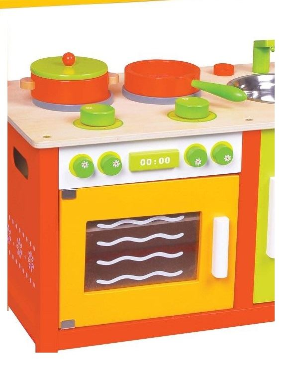 LELIN-WOODEN-WOOD-CHILDRENS-KIDS-PRETEND-PLAY-SAFFRON-KITCHEN-COOKING-OVEN-TOY thumbnail 8